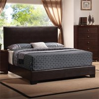 Bowery Hill Faux Leather California King Low Profile Bed in Brown
