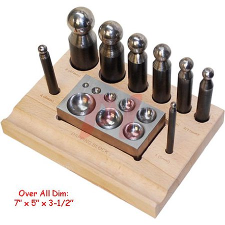 Generic Punch - 10 PC Dapping Block Punch Puncher Round Circle Metal Forming Steel 5 to 27 mm, 10 PC SWAGE Block Puncher By Generic