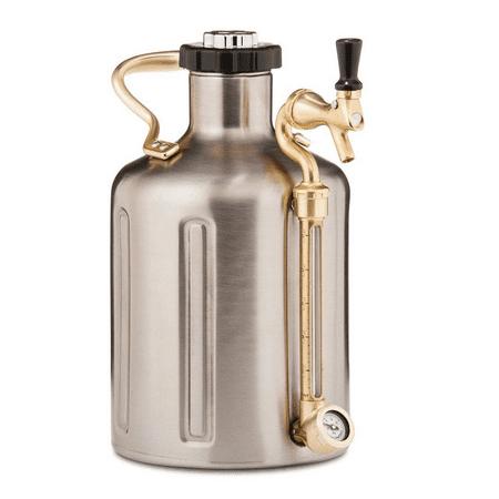 GrowlerWerks uKeg 128 oz Pressurized Growler for Craft Beer - Stainless Steel