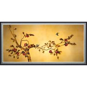 """Oriental Furniture Birds on Plum Tree Canvas Wall Art, 35.25""""W x17.75""""H, Wall hanging, Asian, Printed on canvas"""