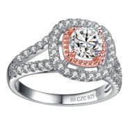 Collette Z  Rose Gold over Silver and Cubic Zirconia Ring - White