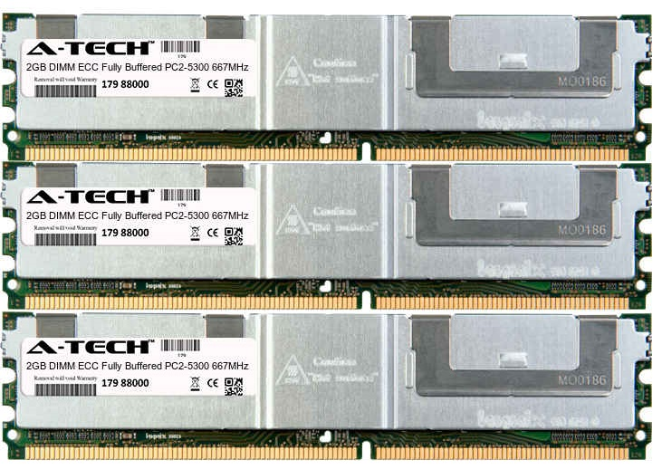 6GB Kit 3x 2GB Modules PC2-5300 667MHz ECC Fully Buffered DDR2 DIMM Server 240-pin Memory Ram