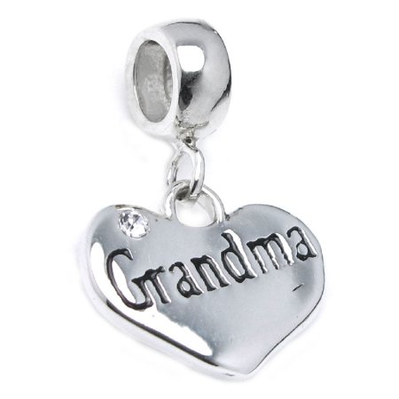 Sterling Silver Grandma Love Heart Cubic Zirconia Crystal Dangle Bead Charm Fits Pandora (Crystal Pandora Charms)