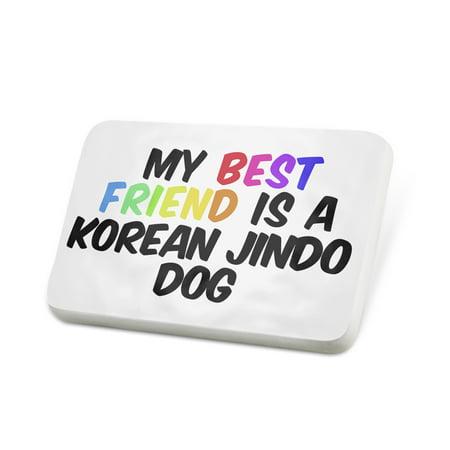 Porcelein Pin My best Friend a Korean Jindo Dog from South Korea Lapel Badge – (Best Jobs In South Korea)