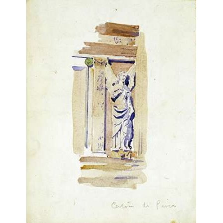 Study of an Angel Statue Poster Print by  Charles Rennie Mackintosh