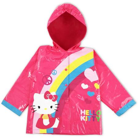 Sanrio Hello Kitty pink rain slicker with hood.