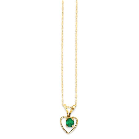 ICE CARATS 14kt Yellow Gold 3mm Green Emerald Heart Birthstone Chain Necklace Pendant Charm Kid Fine Jewelry Ideal Gifts For Women Gift Set From Heart for $<!---->
