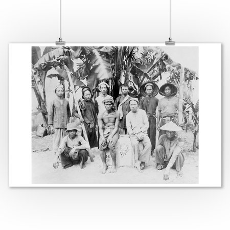 Palm Tree Photo - Workers Standing in front of Palm Trees Photograph (9x12 Art Print, Wall Decor Travel Poster)