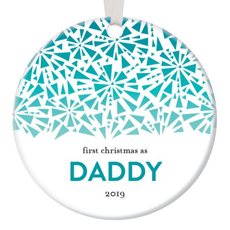Modern Family 2019 Halloween (2019 Daddy's 1st Christmas Modern Handmade Ornament Keepsake New Baby Parent Family Holiday Memory Gift Wintry Art Deco Geometric Ombre Snowflakes Design Ceramic Circle 3