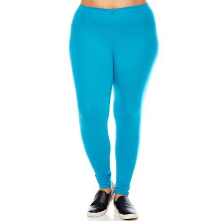 3b957b6875d Bozzolo - Womens Plus Size Comfy Basic Cotton Blend Plain Color Long  Leggings XB4003-2XL-Teal - Walmart.com