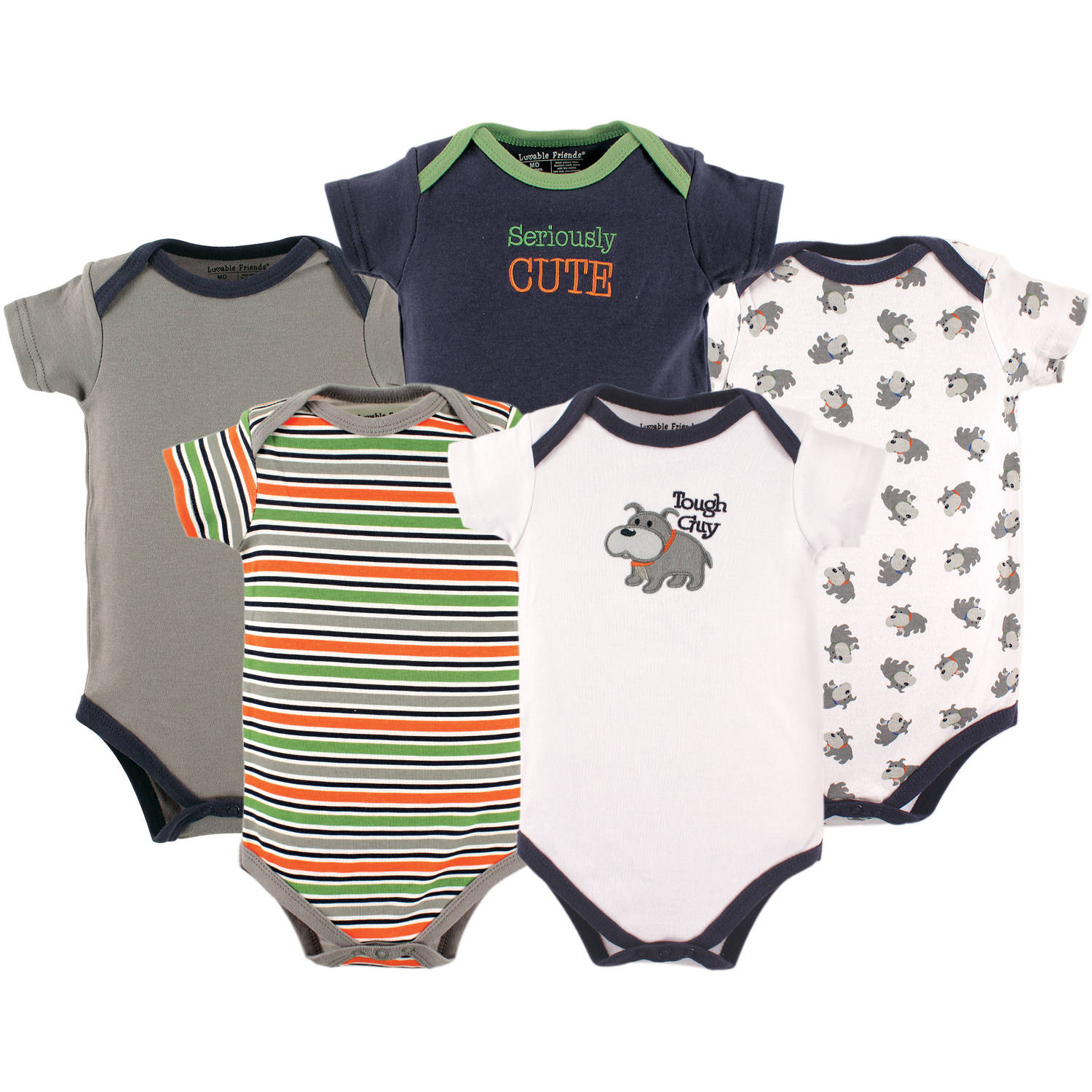 Luvable Friends Newborn Baby Boys Bodysuit 5-Pack, Dog