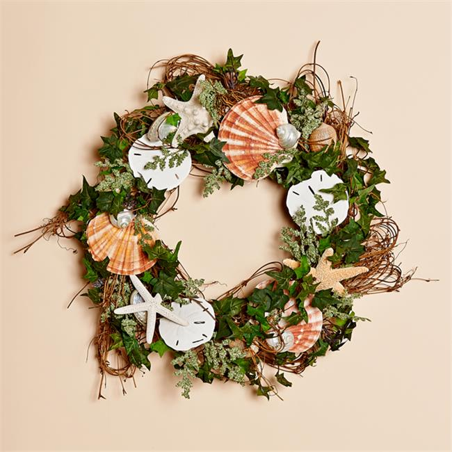 Harvest of Barnstable SSVW18 18 inch Vine Wreath With Shells, Sanddollars And Starfish