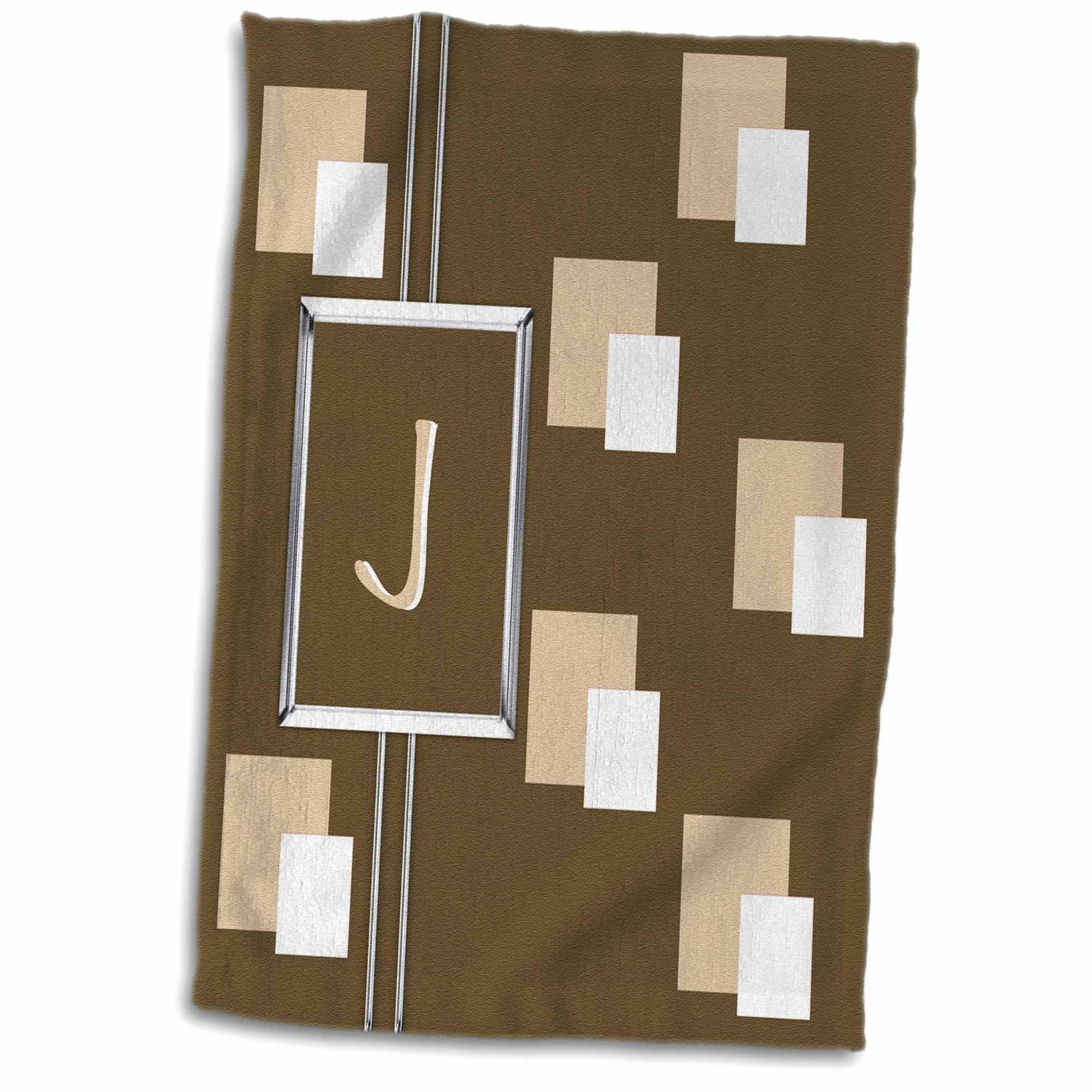 3dRose Elegant Geometric Earth Tone Squares Pattern Monogram Letter J - Towel, 15 by 22-inch