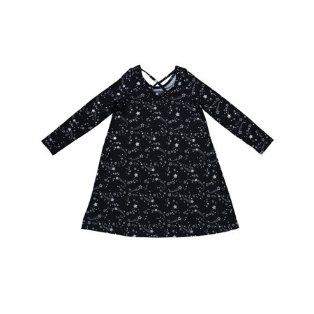 Star Print Cross Back Brushed Jersey Long Sleeve Dress (Little Girls and Big Girls)