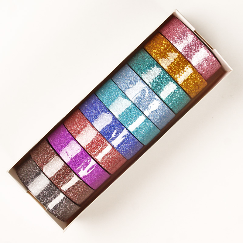 """10ea - 9/16"""" X 5yd Assorted Glitter Washi Tape  by Paper Mart"""