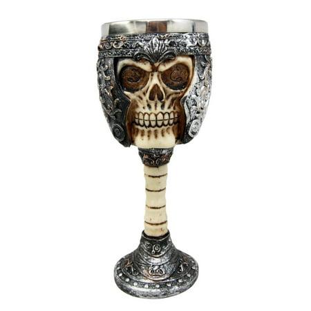 Ossuary Style Skeletal Skull Wine Goblet Bones Skull Armor Cup - Orcskull Cup by Ebros Gift