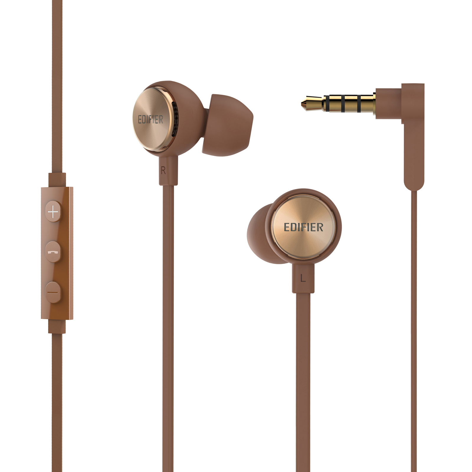 Edifier P293 Plus Headphones In-Ear Earphones Inline Volume Playback Controls Flat L Shaped Cable Comfortable Eartips - Brown