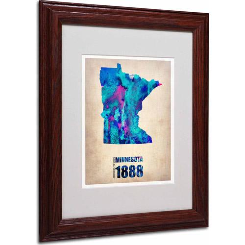 "Trademark Fine Art ""Minnesota Watercolor Map"" Matted Framed Art by Naxart, Wood Frame"