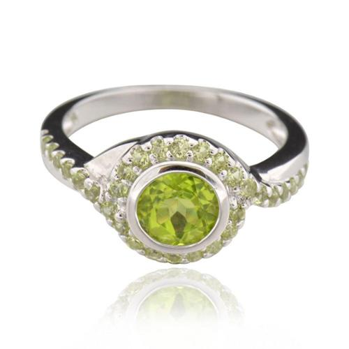 Sterling Silver Round Peridot Ring (China) Sterling Silver Round Peridot Ring Sz 8