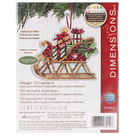 Susan Winget Sleigh Ornament Counted Cross-Stitch Kit, 4-1/4