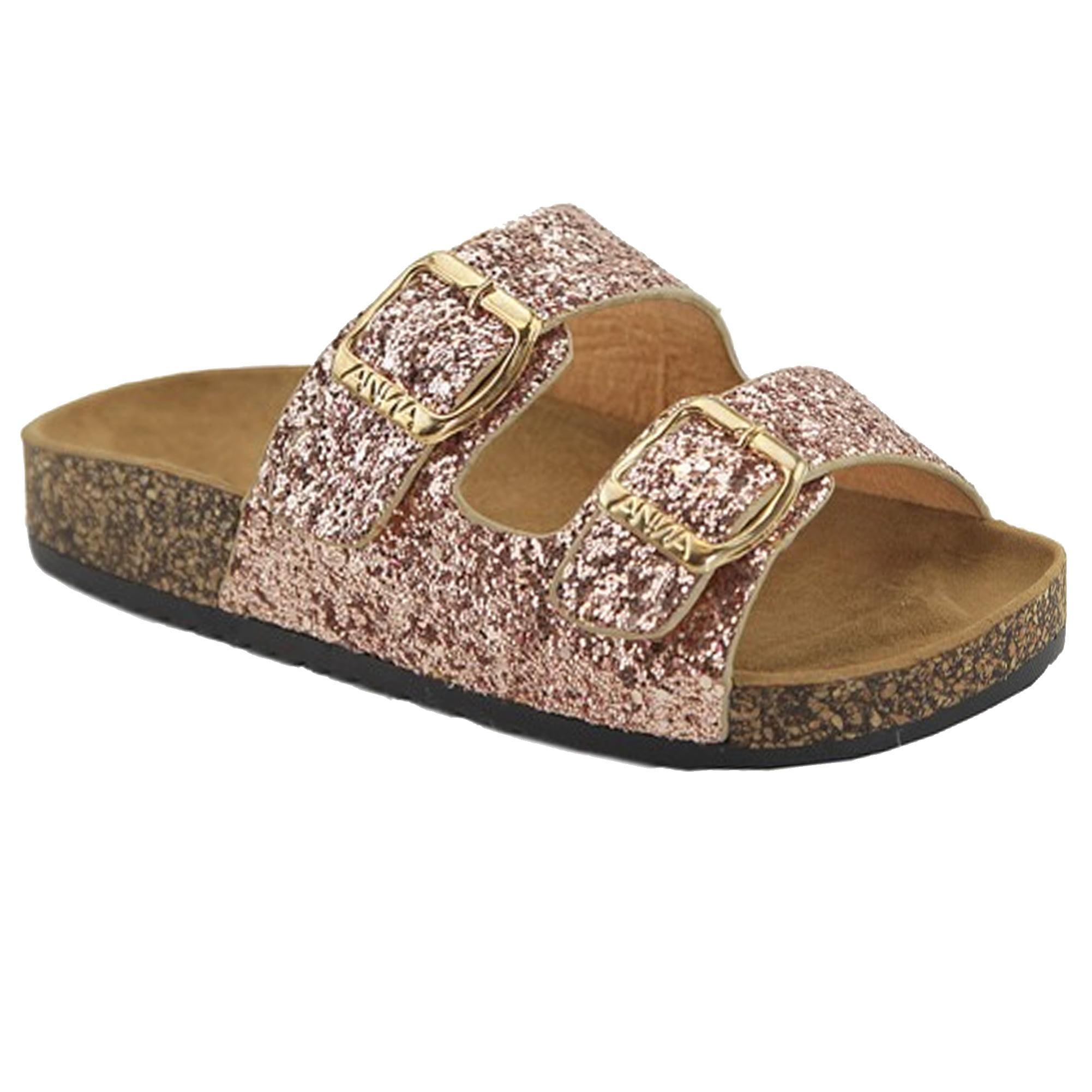 Double Strap Cork Sole Slide Sandals