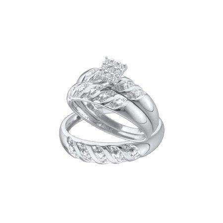 Sizes - L = 7, M = 10 - 10k White Gold Trio His & Hers Round Diamond Cluster Matching Bridal Wedding Ring Band Set (1/10 Cttw)