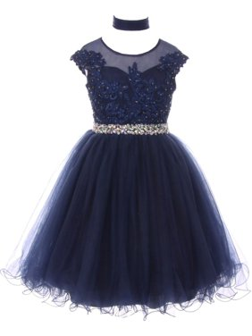 9c2451bbc012 Product Image Girls Navy Sequin Lace Tulle Bejeweled Junior Bridesmaid  Dress 8-16