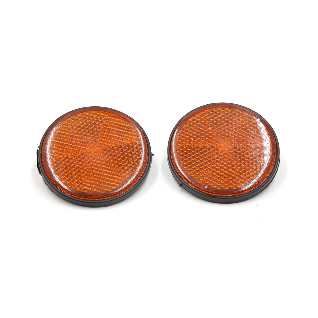 Pair 56mm Dia Plastic Round Reflective Warning Plate Reflector for Motorcycle