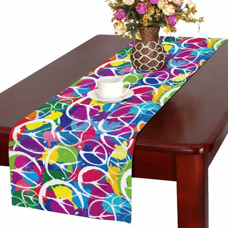 MKHERT Watercolor Peace Sign Table Runner, Colorful Rainbow Table Cloth Runner for Wedding Party Banquet Decoration 14x72 inch](Rainbow Table Decorations)
