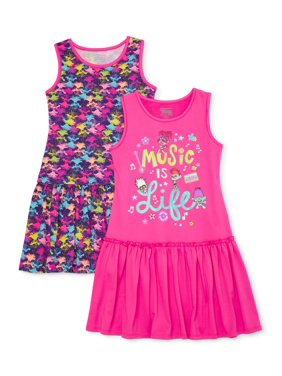 Trolls Poppy Exclusive Girls' 4-12 Drop Waist Dress, 2-Pack
