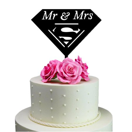 Sugar Yeti Mr And Mrs Superman Unique Wedding Cake Topper Solid Black Monogram Calligraphy Made From Food Grade Acrylic Designed And Manufactured In California Usa Free Shipping