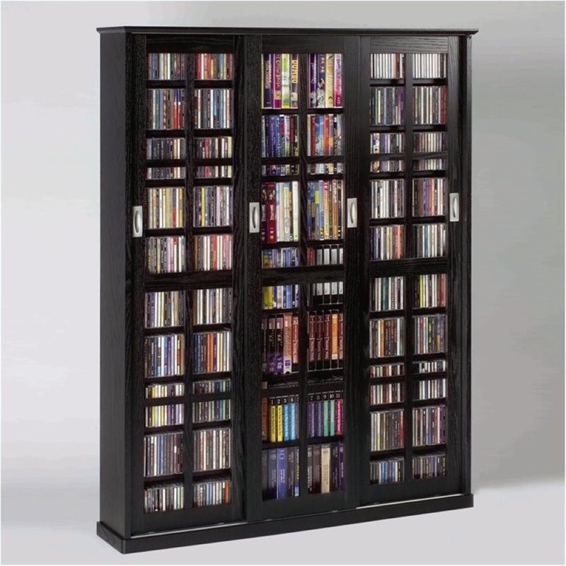 "Bowery Hill 62"" Sliding Door Inlaid Glass Media Cabinet in Black by Bowery Hill"