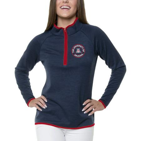 Women's Heathered Navy Arizona Wildcats Double Ring 1/4-Zip - Ring Mistress Jacket