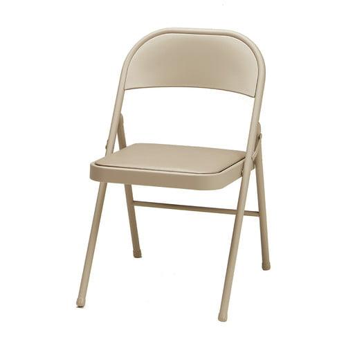 Deluxe Vinyl Single Padded Folding Chair Tan Walmart Com Walmart Com