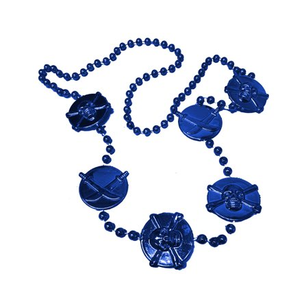 Blue Mardi Gras Pirate Beads Necklace Costume Accessory](Pirate Necklace)