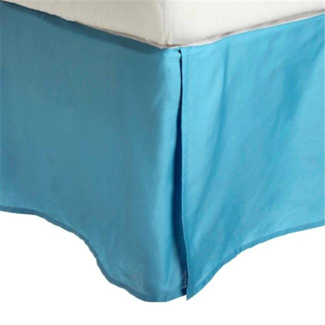 Luxor Treasures-Executive 3000 MF3000XLBS 2LAQ Executive 3000 Series Twin XL Bed Skirt, 2 Line Embroidery - Aqua