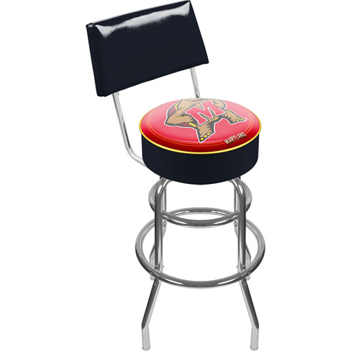 "Trademark NCAA Maryland University 40"" Padded Bar Stool with Back, Chrome"
