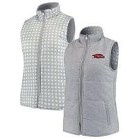 Arkansas Razorbacks Women's Hide and Chic Reversible Vest - Heathered Gray