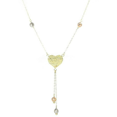Jewelry 14kt Yellow, Rose and White Gold Tri-Color Diamond-Cut Heart and Love Necklace, Adjustable 16-18 Chain