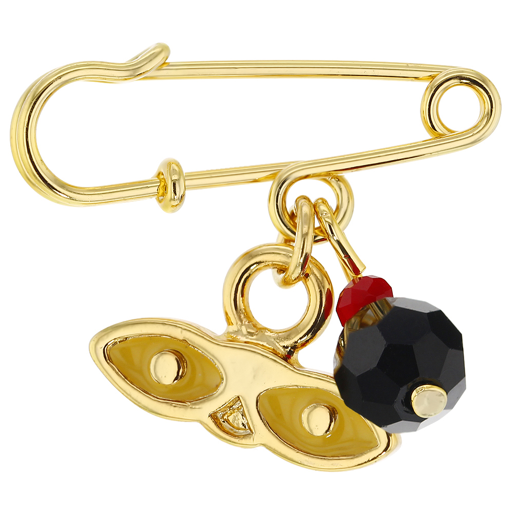 14k Gold Plated St Lucy Simulated Azabache Charm Protection Baby Brooch Pin by In Season Jewelry