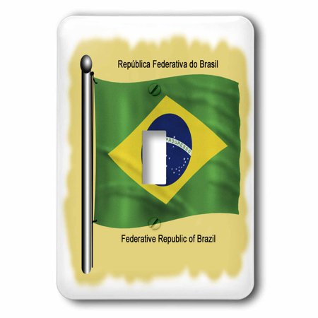 3dRose Brazilian flag waving on flagpole on a yellow background. Federate Republic of Brazil - Single Toggle Switch