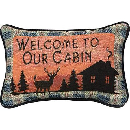 Bears Mvp Pillow - Manual Bear Lodge Throw Pillow, 12.5 X 8.5-Inch, Welcome to Our Cabin