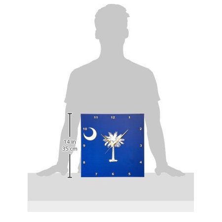 3Drose Flag Of South Carolina Sc   Us American United State Of America Usa White Palmetto Tree Indigo Blue  Wall Clock  13 By 13 Inch
