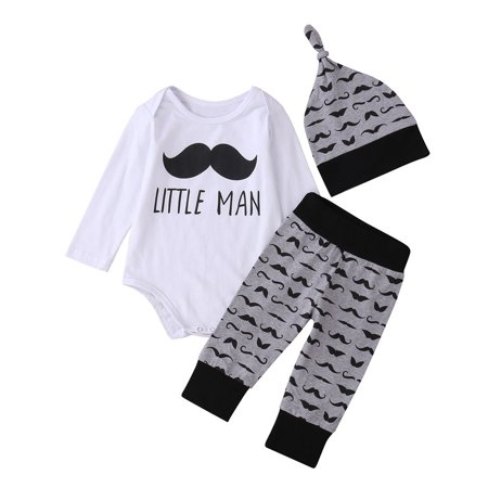 Newborn Baby Infant Boys Girls Romper+Pants Legging Hat Outfit Clothes Set 0-18M - image 2 of 5