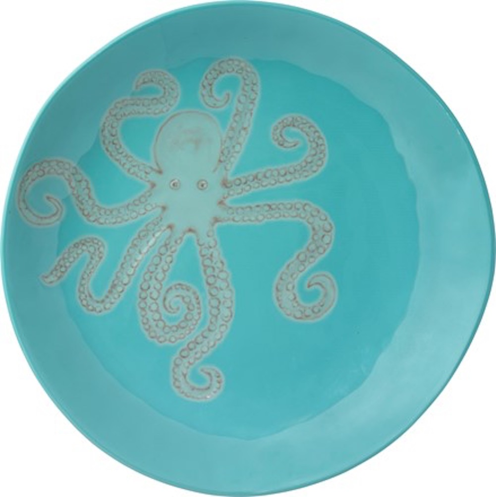 Merritt - Melamine Round Dinner Plate - Embossed Sea Life Octopus - 11""