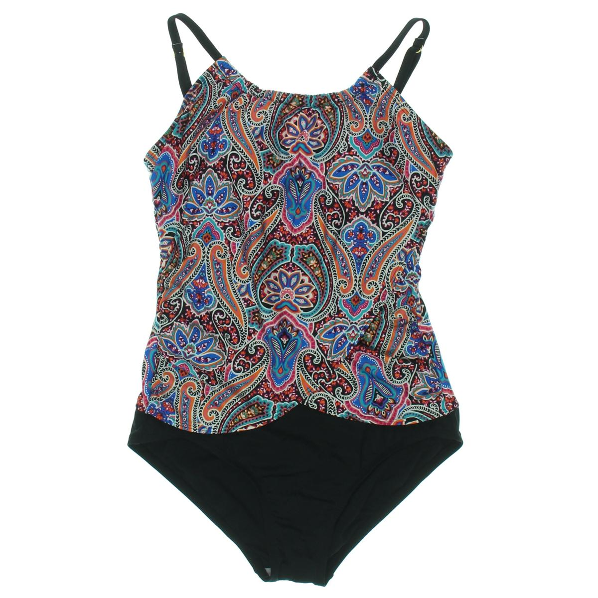 Jantzen Womens High Neck Paisley One-Piece Swimsuit