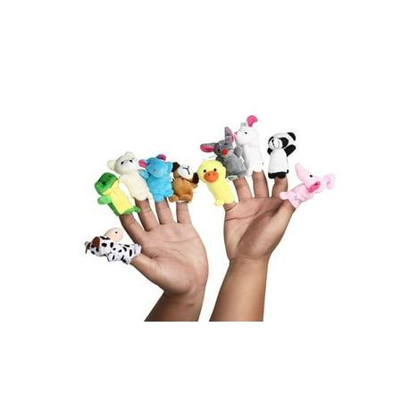 10pc Animal Finger Puppets Soft Plush Animal Finger Puppet Set of 1 - Crochet Finger Puppets