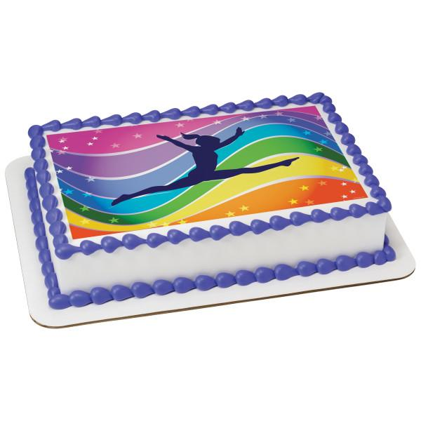 Party Favors, Gymnastics Edible Cake or Cookie Topper Cupcake with Free Personalized Message