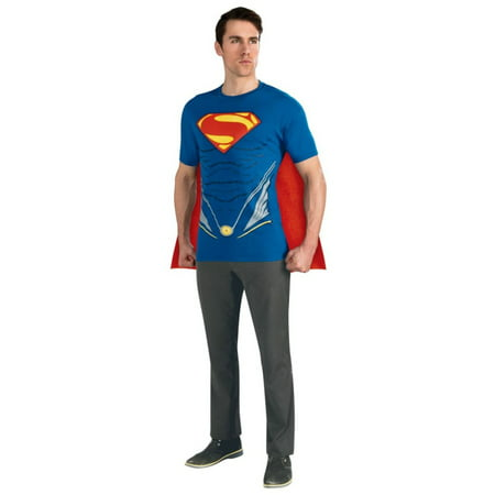 Adult Mens Man of Steel Superman Superhero T-Shirt Costume - Adult Super Hero Costumes