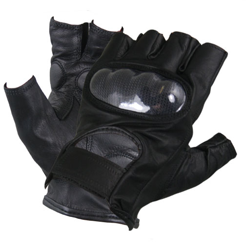 Xelement XG1475 Mens Black Knuckle Protected Leather Fingerless Riding Gloves